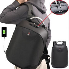 Anti-theft Mens School Backpack USB Charger Port Laptop Notebook Travel Bag BLK