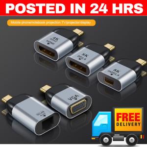TYPE C to HDMI FEMALE  ADAPTER  8K VGA MINI DP RJ45  DISPLAYPORT  ETHERNET USB C