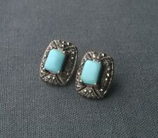 SOLID 925 STERLING SILVER TURQUOISE MARCASITE BIG STUD EARRINGS