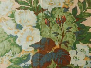 "Vtg Warner MTM Vintage Hollyhocks Ribbons Lined Pair Curtains 47""D 91""W Ex Wide"