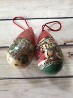Vintage Set of 2 Christmas Tree Ornaments Santa Snowman Lightweight