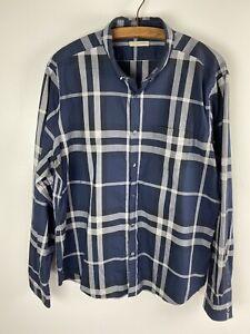 Burberry Brit XXL mens Tartan Plaid Long Sleeve Button Up Shirt blue Checkered