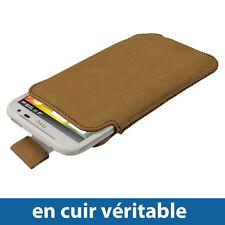 Marron Étui Housse Case en Cuir pour HTC Sensation XL Smartphone Pochette Case