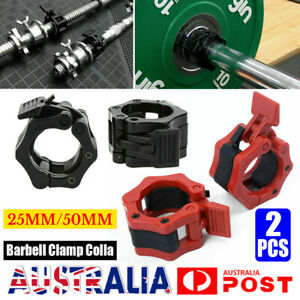 2PC 25/50mm Barbell Bar Clamp Spring Collar Clips Gym Weight Dumbbell Lock Lift