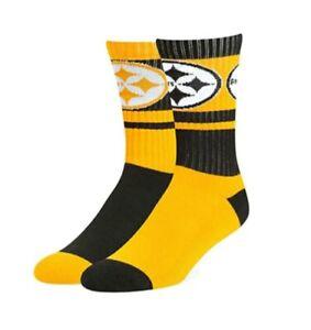 NFL Pittsburgh Steelers Wentworth Crew Socks Mismatch Large Women 10-12 Men 9-13