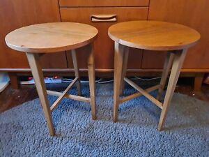 Vintage Tables Coffee Side Folding Bedside Set 2 Pair Danish Poul Hundevad MCM