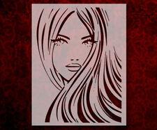"Girl Long Hair Eyes Model 8.5"" x 11"" Stencil FAST FREE SHIPPING (630)"