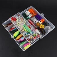 140pcs Fishing Lures Kit Mixed Hard Lures Soft Baits Wobbler Frog Lure with Box