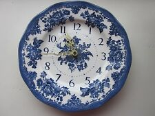 Blue and White Wall Plate clock Battery operated 9 3/4""