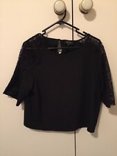 Zalora Collection, Black lace sleeve tee, L