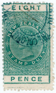(I.B) New Zealand Revenue : Stamp Duty 8d (sheet-edge watermark)