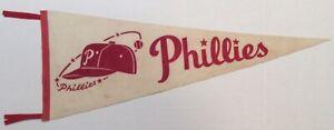 """Vintage 1950's Philadelphia Phillies 30"""" Felt Baseball Pennant - White & Red"""