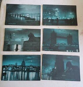 6 London postcards. Night time scenes in blue.