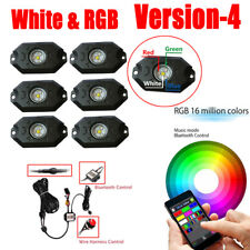 6 Pods White & RGB LED Rock Light Wireless Bluetooth Music Control + Wiring kit