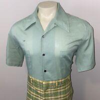Vtg 50s 60s Shirt MR. CALIFORNIA Loop Collar Green Mid Century Rat pack MENS XL