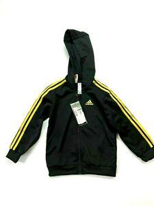ADIDAS Logo Full Zip Hoodie Top Boys Black Outdoor Jacket UK Size 2-3 Years BNWT
