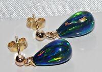 9CT YELLOW GOLD BLACK OPAL PEAR DROP DROPPER STUD EARRINGS