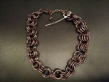 """Necklace Bronze Tone color Brown Purple Links Circles Chain Fashion Jewelry 21"""""""