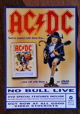 AC/DC original UK NO BULL LIVE flyer promo dvd hard rock ANGUS nice!