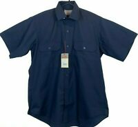 King Gee Mens K04070 Navy Short Sleeve Button Up 2 Pocket Workwear Shirt Size S