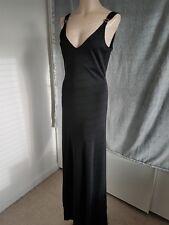 Preciosa Ralph Lauren Negro de Noche Vestido Largo Elegante Correa