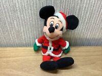 "Disney Store Mickey Mouse Plush Soft Toy Teddy 9"" Christmas Xmas Santa Outfit"
