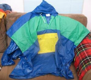 Vinyl Raincoat Poncho One Size Large Harrington Park Pullover Hood Pocket Blue +