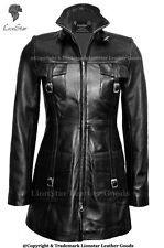 Ladies Victorian Gothic Steampunk Vintage Edwardian Trench Real Leather Coat