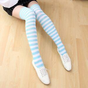 Fashion Women Striped Socks Over the Knee Thigh High Long Slim Leg Stocking New