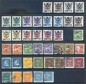 Sweden 1919 - 39 run of used Officials on 2 stock sheets  (2014/10/15/#08)