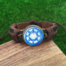 Iron Man Photo Brown Glass leather & chord Bracelet charm -Unisex Adjustabl-836
