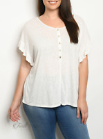 Cozy Casual   Off White Short Sleeve Ruffle Edge Plus Size Top   NWT Size: 2X 3X