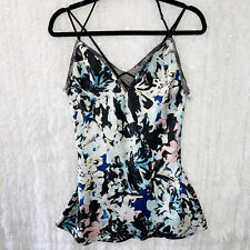 Victoria's Secret Chemise Nightie Strappy Floral Satin Lace Inlay Back SMALL