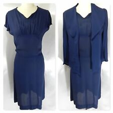 1930-40s 2Pc Dress/Duster Jacket~Navy Blue Rayon Sheath Fitted Empire Dress S/M