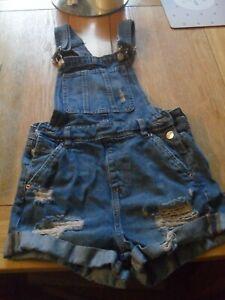 H & M womens size4 denim dungeree shorts
