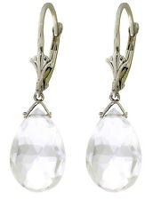10.2 Carat Silver Leverback Earrings Briolette White Topaz