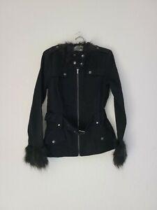 Tripp NYC Fur Moto Black Jacket Coat Gothic Womens Large