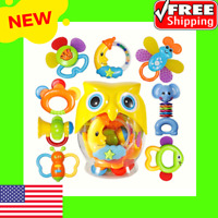 8pcs Baby Rattle Sets Teether Rattles Toys for 3 6 9 12 Month for Baby,Boy,Girl