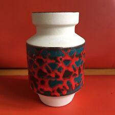 Vintage Retro Fat LAVA West German Vase 20cm Tall Red Splatter