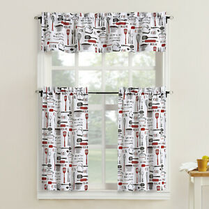 Bistro Valance & Tiers Kitchen Cafe Curtain Set Black White Gray Red or Blue