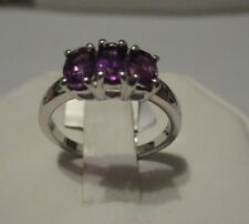 Size 7 1.39ct Genuine Amethyst Sterling Silver Ring