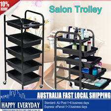 5 Tiers Hairdresser Salon Spa Hair Trolley Rolling Storage Cart  Drawer Black
