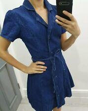New Look denim blue colour skater button up dress size UK 6