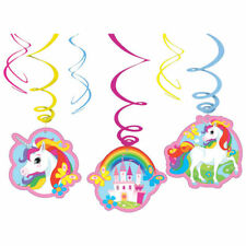 Pack of 6 Girls Unicorn Castle & Pony Swirls Hanging Party Decorations - New
