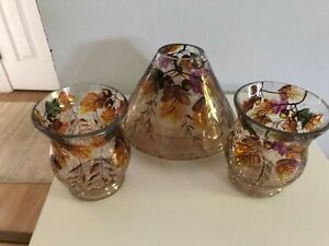 Yankee Candle Autumn crackle glass Large/Med. Jar Shade & 2 Votive holders new