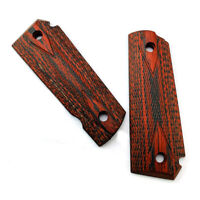 2PCS Tactics 1911 checkered Red Diamond Polished Wood Grips NEW TD