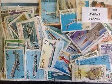 200 différents avions/avion/aviation sur timbres collection