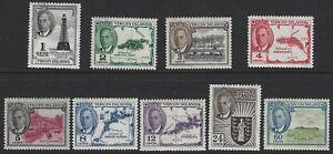 VIRGIN ISLANDS 1952 KG6 Pictorial Set to 60c (9) MNH/MLH