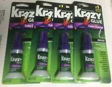 4 pc Krazy Glue Color Change Brush On Instant Bond Super Glue Dries Clear