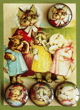THREE LITTLE KITTENS Studio GLASS DOME BUTTONS SET from VINTAGE FAIRY TALE 20mm